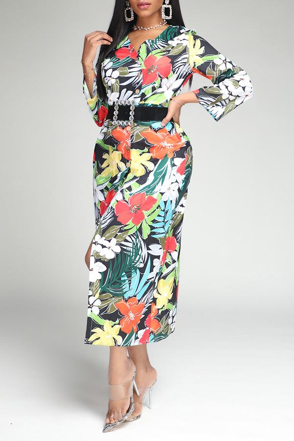 Lovely Bohemian Print Green Mid Calf Dress