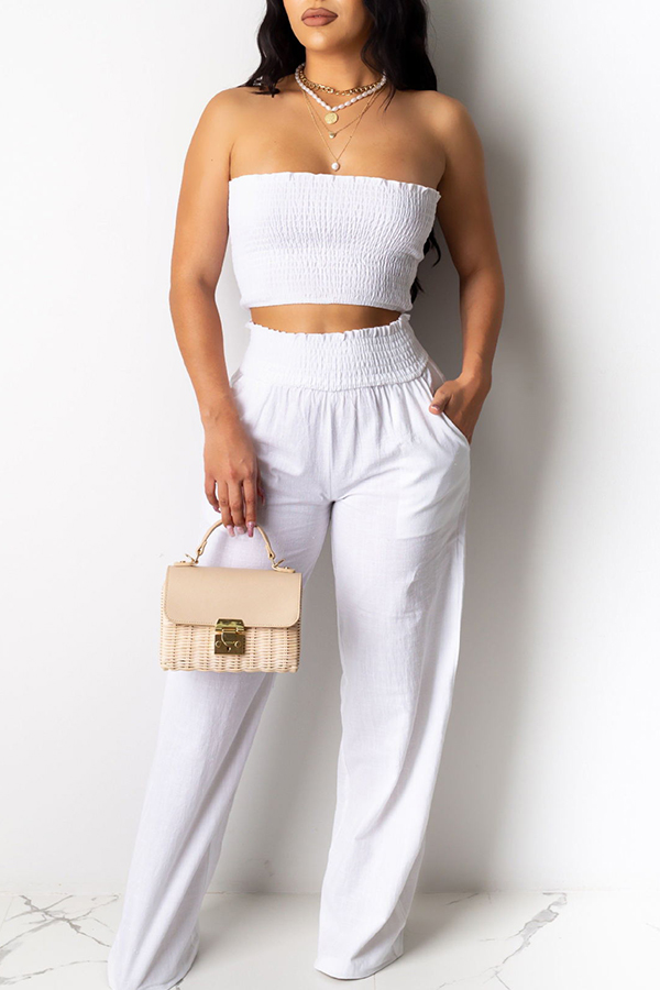 Lovely Trendy Dew Shoulder White Two-piece Pants Set фото