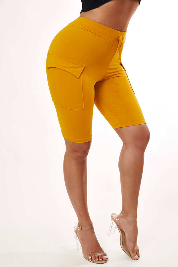 Lovely Trendy Lace-up Yellow Shorts