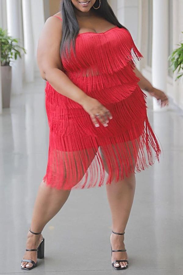 Lovely Stylish Tassel Design Red Plus Size Two-piece Skirt Set