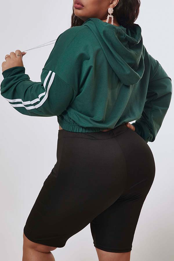 Lovely Casual Patchwork Green Plus Size Hoodie