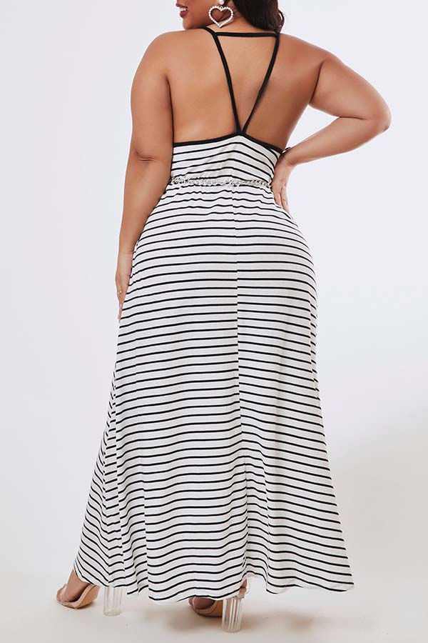 Lovely Casual Striped Black Ankle Length Plus Size Dress
