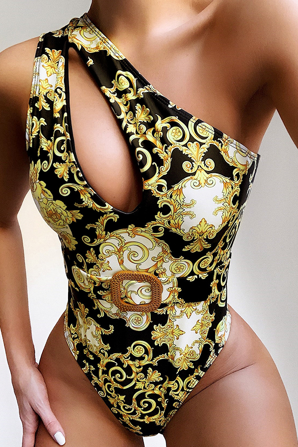 Lovely One Shoulder Cut-Out Yellow One-piece Swims