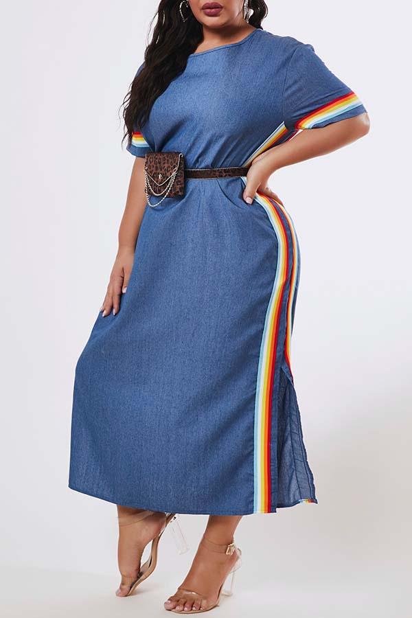 Lovely Trendy O Neck Patchwork Blue Ankle Length Plus Size Dress