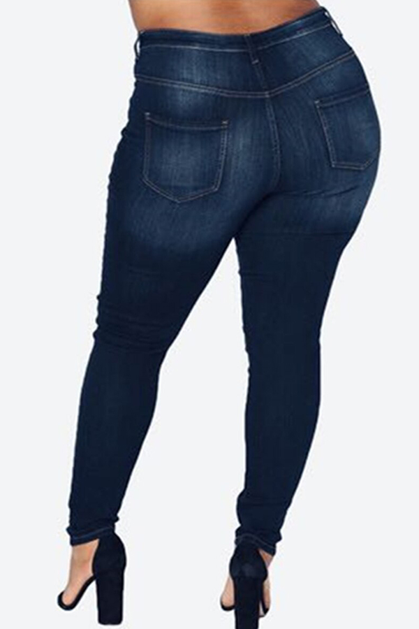 Lovely Casual Hollow-out Navy Blue Plus Size Jeans
