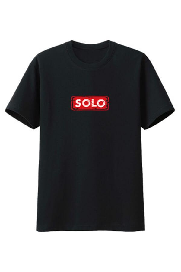 LW COTTON Men Leisure O Neck Letter Print Black T-shirt