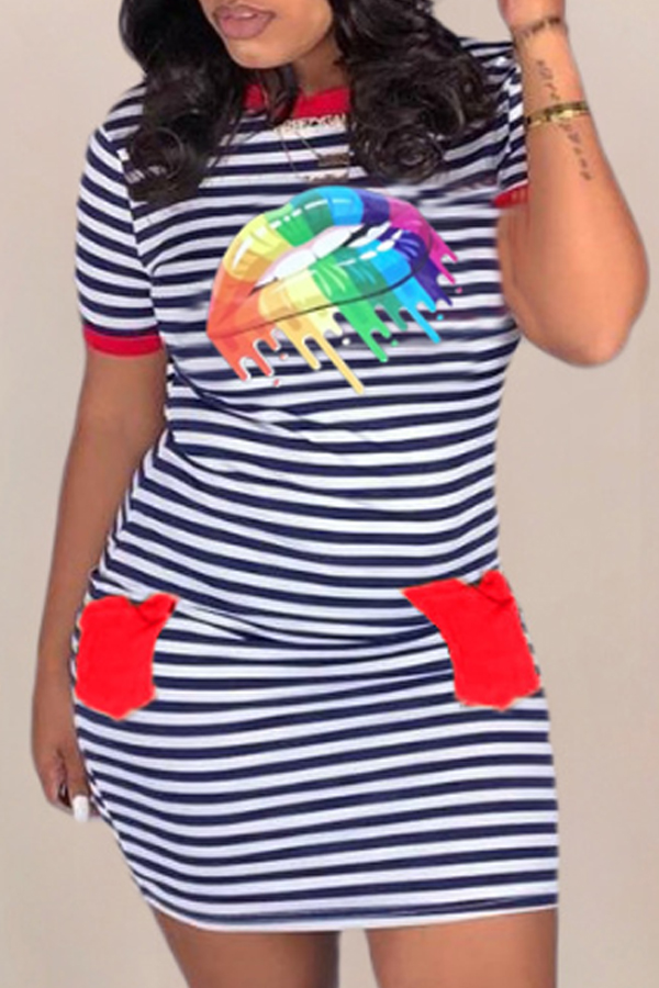 Lovely Casual O Neck Striped Print Red Mini T-shirt Dress
