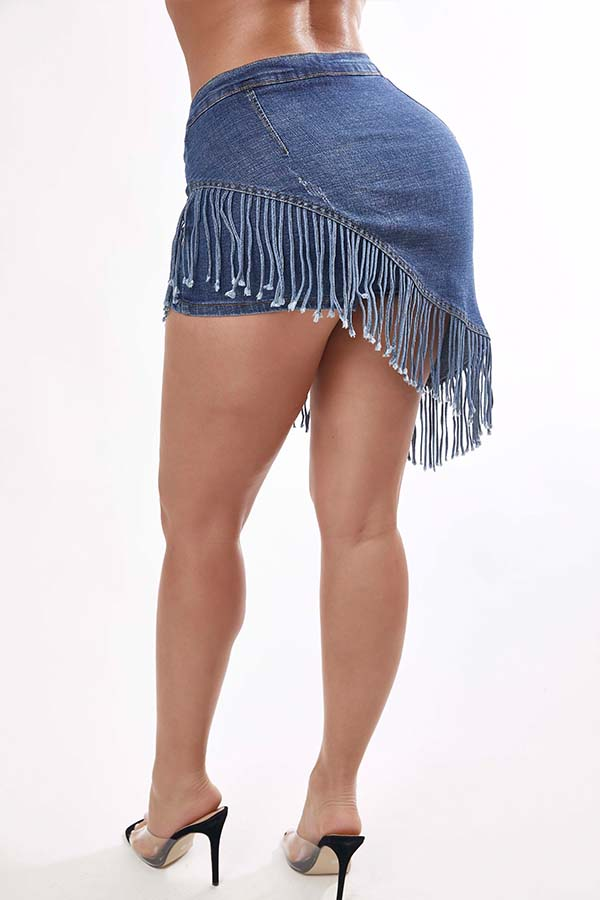 Lovely Trendy Tassel Design Blue Shorts