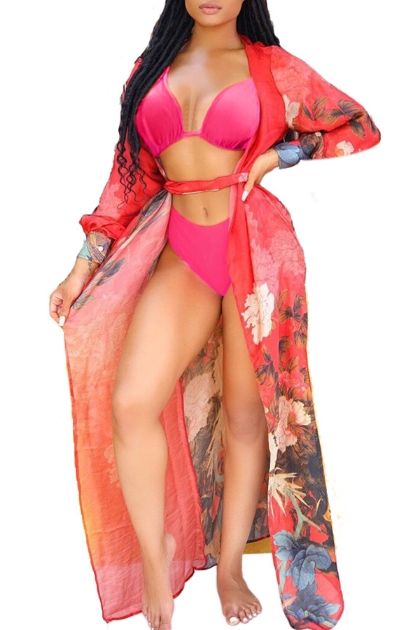 Lovely Print Red Two-piece Swimsuit(With Cover-Up)