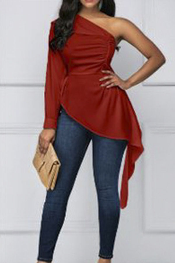 Lovely Trendy One Shoulder Red Blouse
