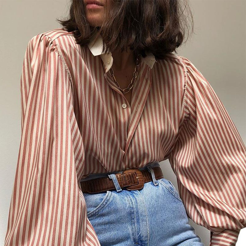 Lovely Trendy Turndown Collar Striped Brown Shirt