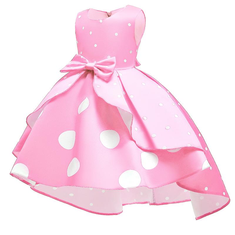 Lovely Sweet Dot Print Pink Girl Knee Length Dress