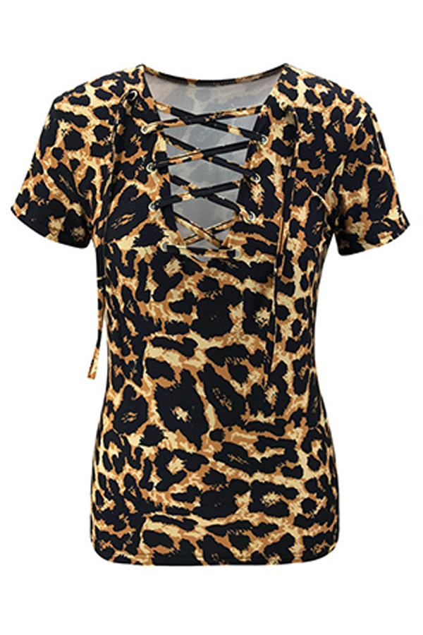 Lovely Casual O Neck Leopard Print T-shirt