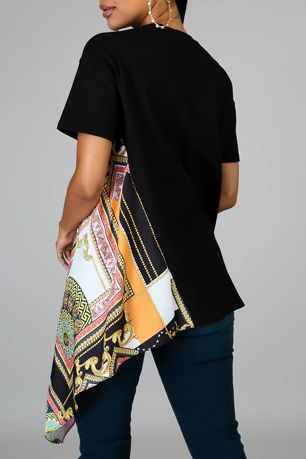Lovely Stylish Patchwork Black T-shirt