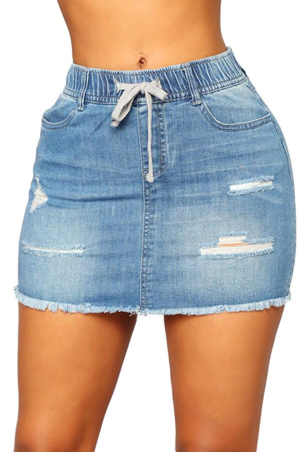 Lovely Trendy Broken Holes Blue Skirt