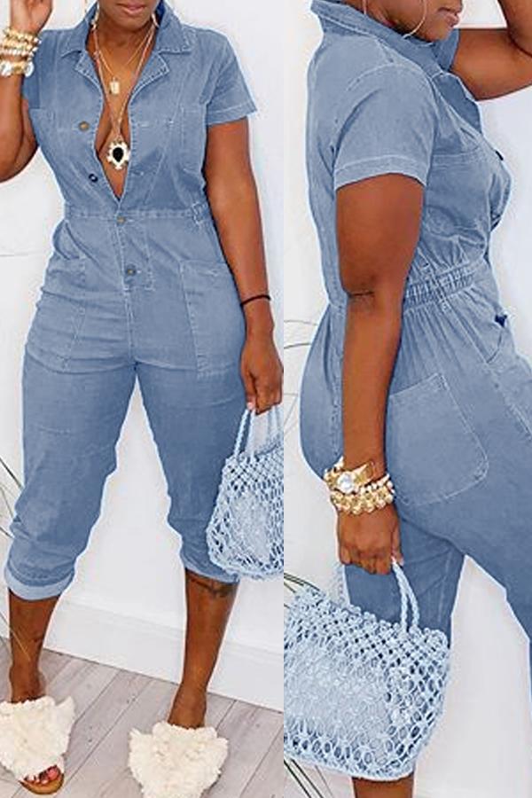 LW Leisure Buttons Design Blue One-piece Jumpsuit
