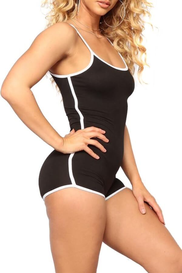 Lovely Leisure Patchwork Black One-piece Romper