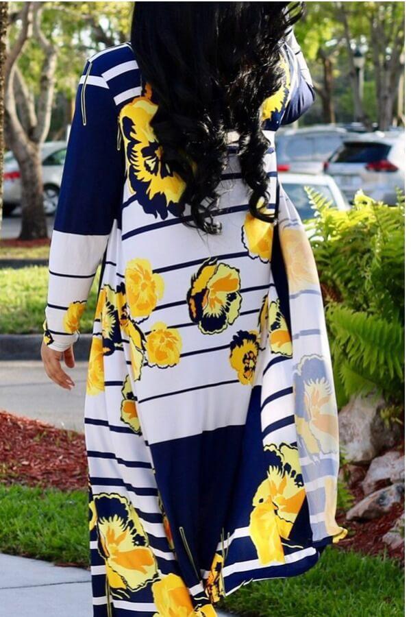 Lovely Trendy Print Yellow Plus Size Two-piece Pants Set
