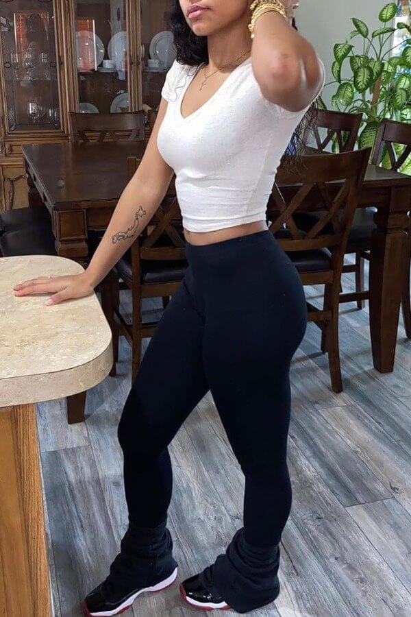 Lovely Casual Skinny Black Pants