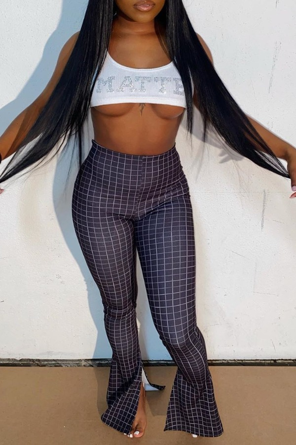 Lovely Trendy Grid Black And White Pants