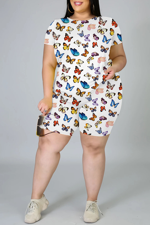 Lovely Casual Butterfly Print White Plus Size Two-piece Shorts Set