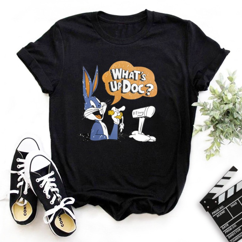 Lovely Leisure O Neck Cartoon Print Black T-shirt