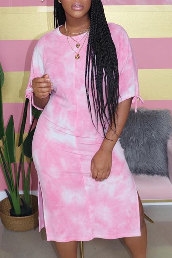 Lovely Leisure Tie-dye Pink Mid Calf Dress