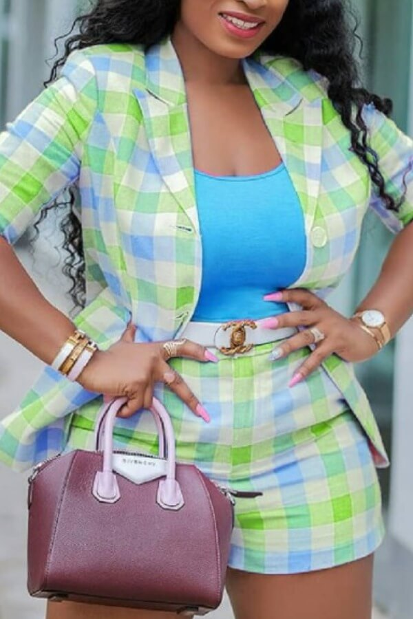 Lovely Trendy Grid Green Two-piece Shorts Set фото