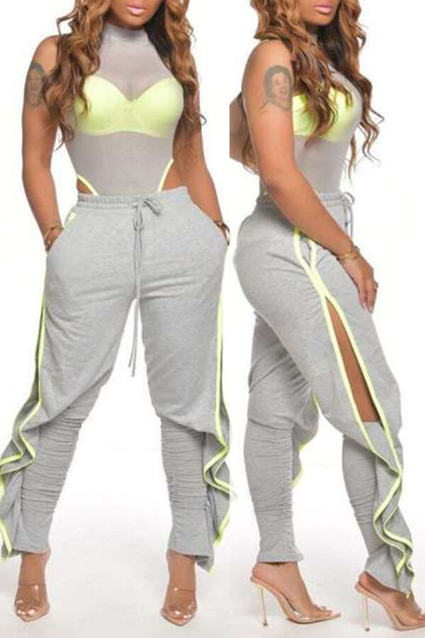 Lovely Casual Side High SlitGrey Pants