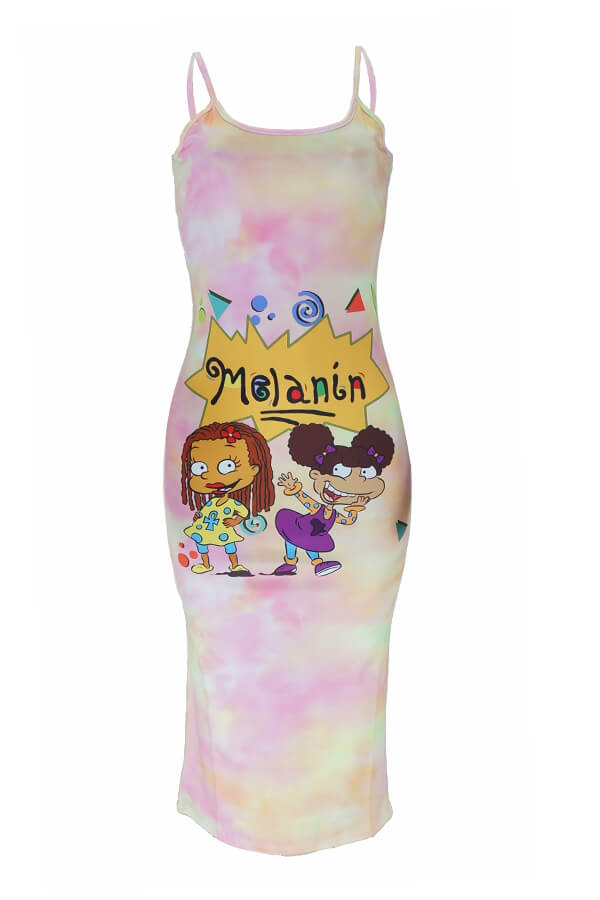 Lovely Casual Cartoon Print Pink Mid Calf Dress