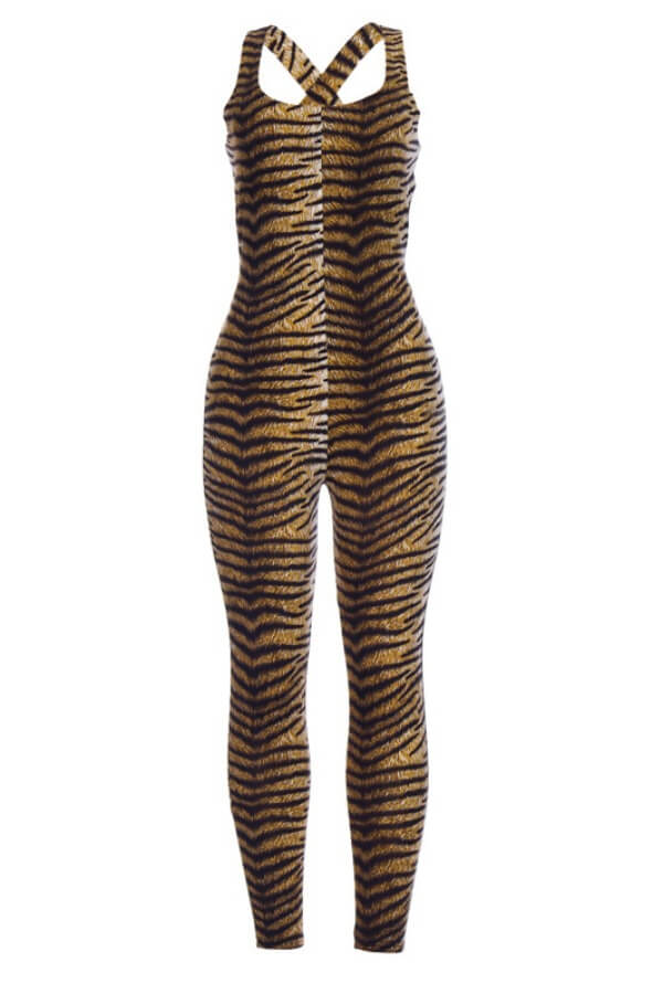 Lovely Stylish Print Tiger StripesOne-piece Jumpsuit