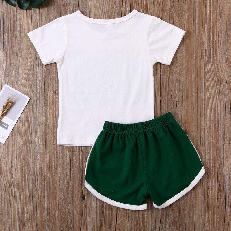 Lovely Leisure Print White Girl Two-piece Shorts Set