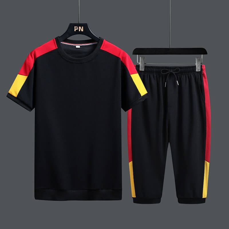 Two Pieces Men Lovely Sportswear Patchwork Black Two-piece Shorts Set фото