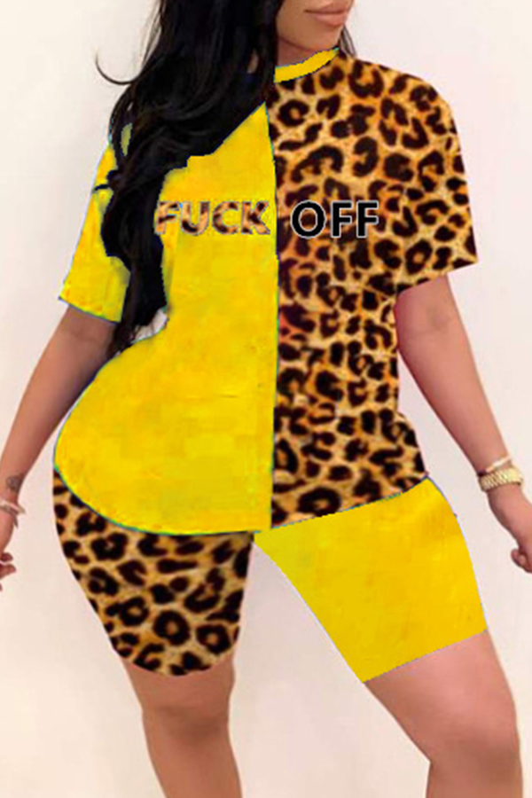Lovely Casual Patchwork Yellow Plus Size Two-piece Shorts Set фото