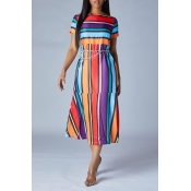 Lovely Trendy Striped Multicolor Mid Calf Dress