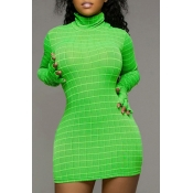 Lovely Casual Grid Green Mini Dress