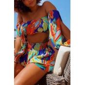 Lovely Bohemian Dew Shoulder Print Multicolor Two-