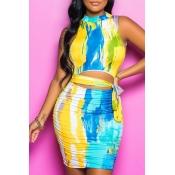 Lovely Trendy Tie-dye Blue Mini Dress