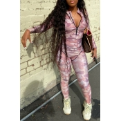 Lovely Casual Print Light Pink One-piece Jumpsuit