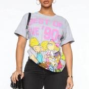 Lovely Sweet O Neck Cartoon Print Grey T-shirt