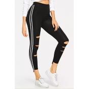 Lovely Sportswear Hollow-out Black Leggings