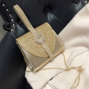 Lovely Chic Chain Strap Gold Crossbody Bag