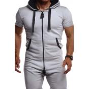 Lovely Sportswear Zipper Design Grey Two-piece Pan