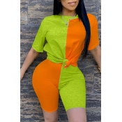Lovely Casual O Neck Patchwork Orange Two-piece Sh
