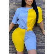 Lovely Casual O Neck Patchwork Yellow Two-piece Shorts Set