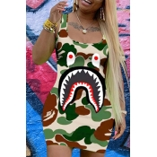 Lovely Casual U Neck Camo Print Army Green Mini Dr