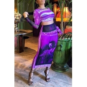 Lovely Trendy O Neck Print Purple Two-piece Skirt
