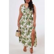 Lovely Bohemian Plants Print Green Ankle Length Pl