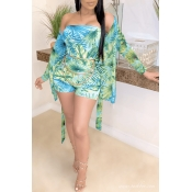 Lovely Plants Print Green One-piece Swimsuit