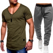 Lovely Casual V Neck Basic Army Green Two-piece Pants Set